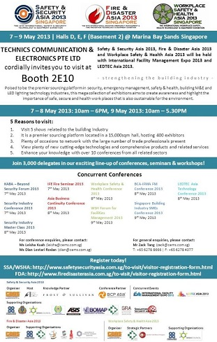 TCE invites you to join us at Safety & Security Asia 2013
